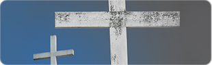 two crosses with a blue and gray gradient behind them
